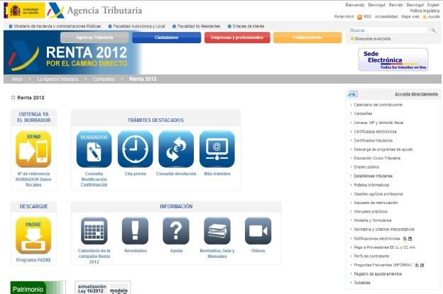 Portal de acceso de la Agencia Tributaria a tu declaración de la renta 2012